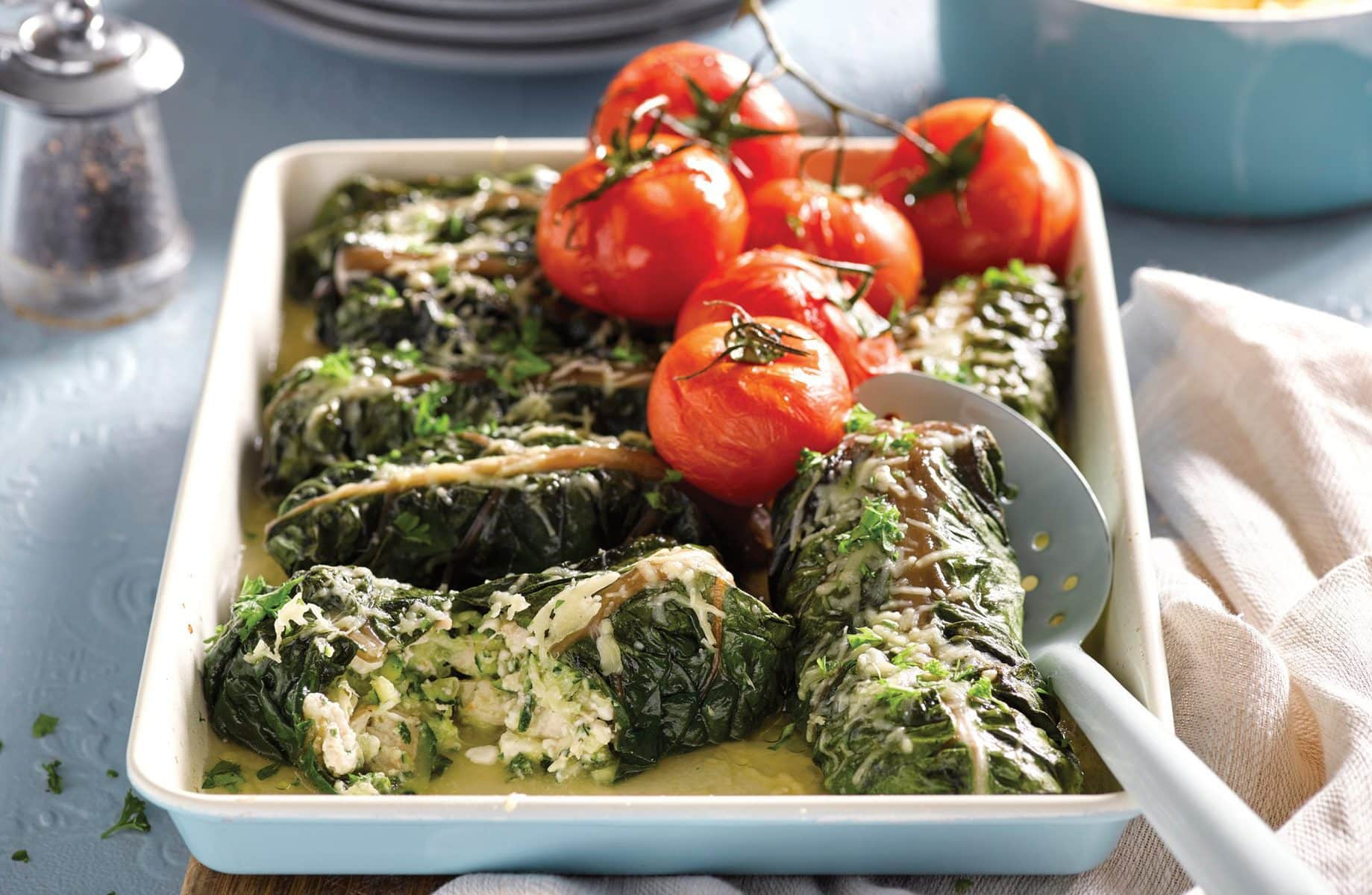 Baked silver beet cheese rolls
