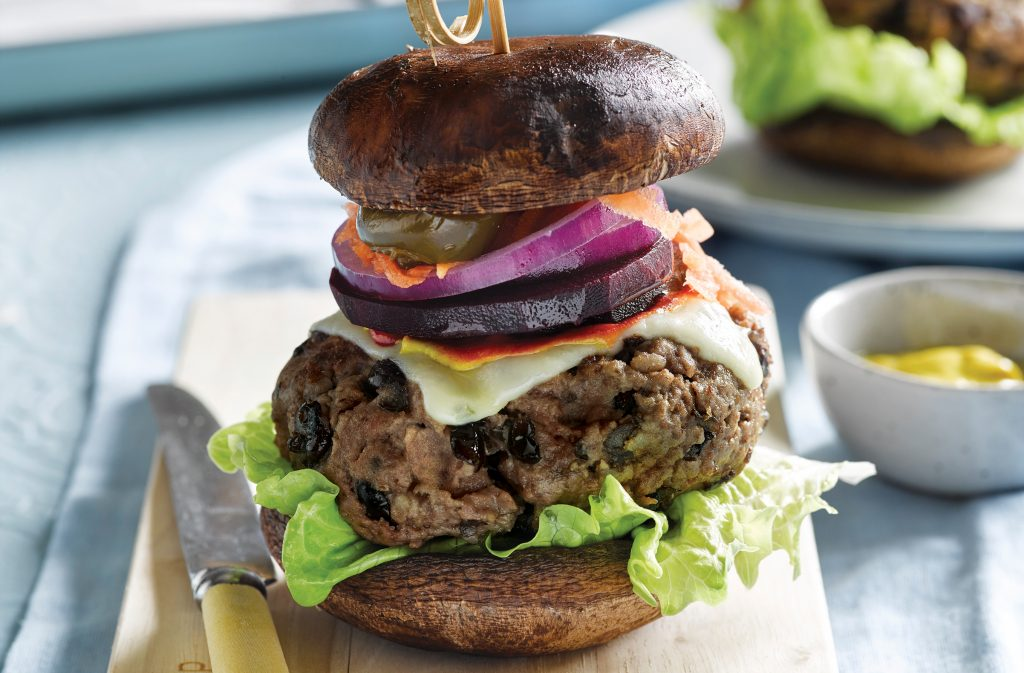Beef and bean burgers with mushroom buns
