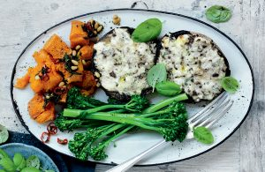 Cheese-topped mushrooms with smashed pumpkin