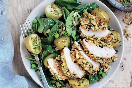 Macadamia-crusted chicken with potato salad