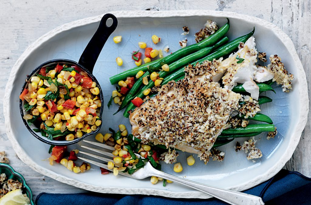 Mustard-coated fish with corn salsa