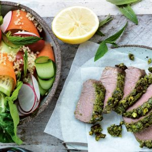 Pistachio and parsley-crusted lamb with quinoa salad