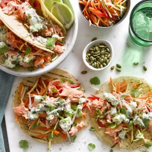 Salmon tortillas with creamy avocado salsa