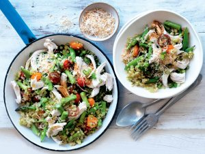 Broccoli and cauliflower 'rice' with summer veges