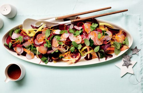 Carrot and beetroot salad with orange harissa dressing