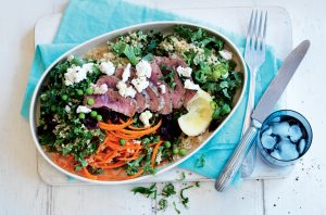 Chargrilled lamb with kale and pea couscous