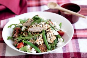 Chicken and lentil salad with honey mustard dressing
