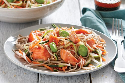 Daikon salad with sesame wasabi dressing and teriyaki baked salmon