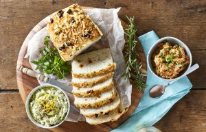 Gluten-free olive and tomato bread with dips