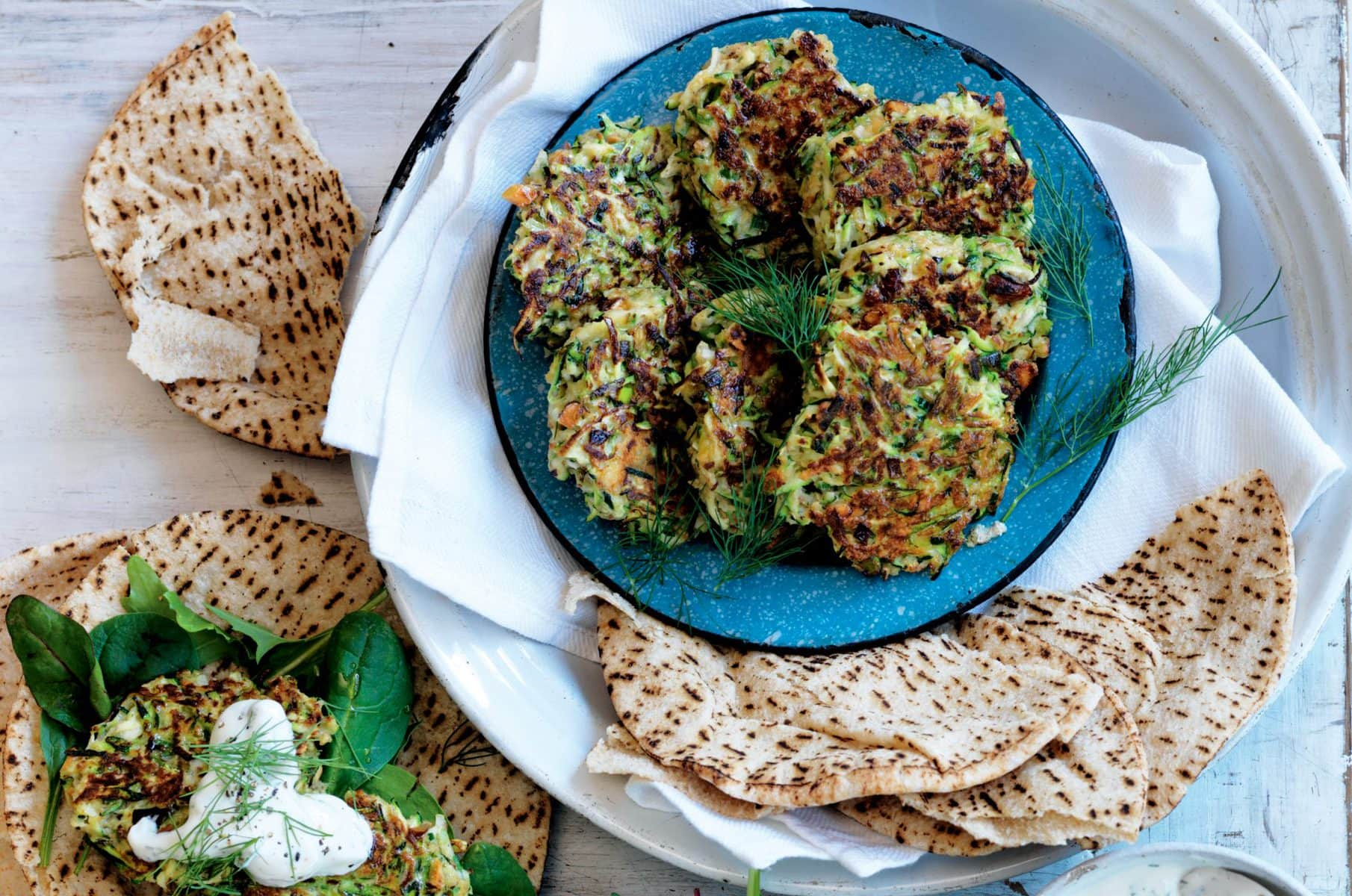 Quinoa and courgette fritters with dill tzatziki