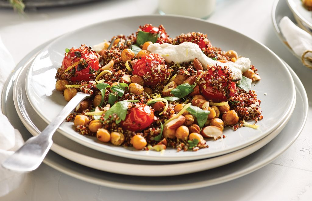Roasted tomato, quinoa and crispy chickpea salad with creamy cashew dressing