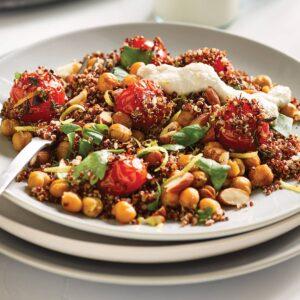 Roasted tomato, quinoa and crispy chickpea salad with creamy cashew dressing