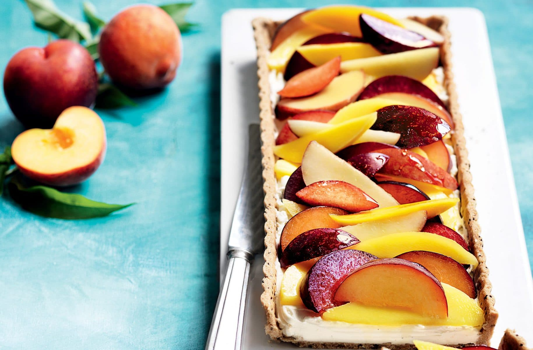 Summer fruit tart with spelt and chia pastry