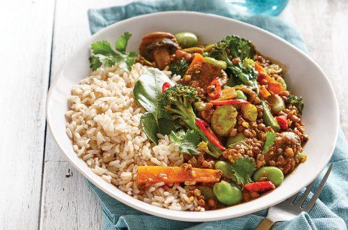 Vege and lentil curry with coconut rice