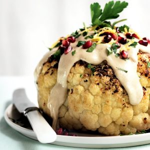 Whole spice-roasted cauliflower with pomegranate
