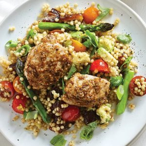 Chicken thighs with dukkah couscous salad