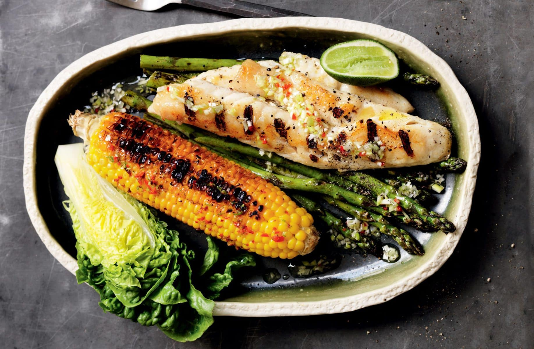 Grilled fish with chilli lime corn and asparagus healthy for Fish and asparagus