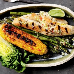 Grilled fish with chilli-lime corn and asparagus
