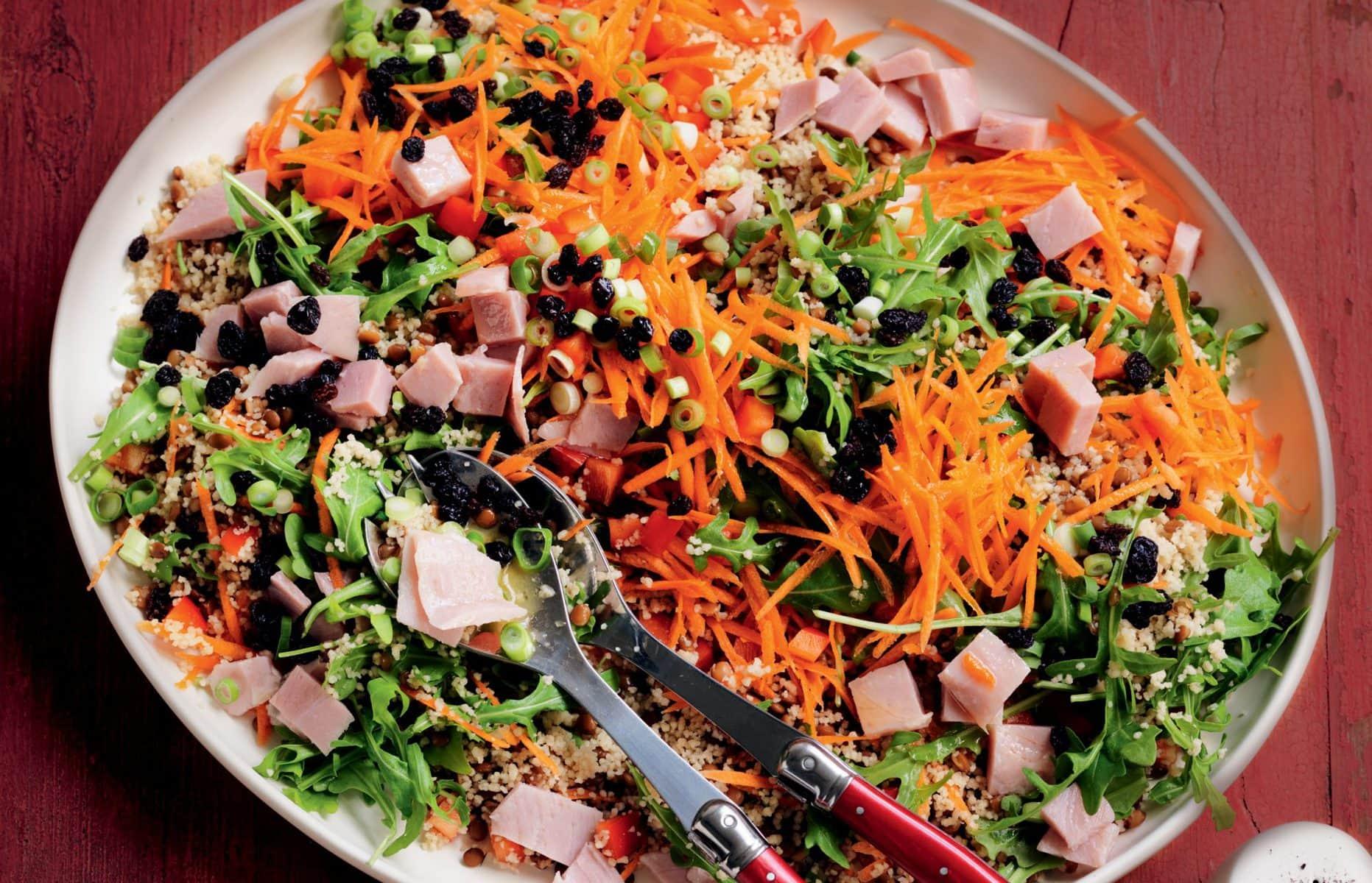 Ham, couscous and lentil salad