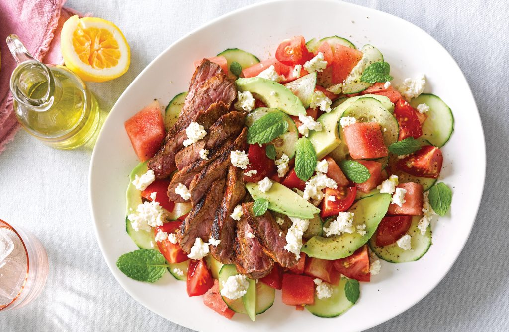 Lamb with tomato, watermelon and feta salad