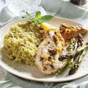 Lemon fish with summer green mash