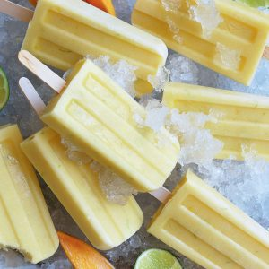 Mango, lime and coconut popsicles
