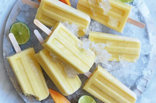 Mango, lime and coconut pops