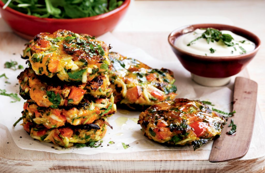 Roasted vegetable, feta and herb patties