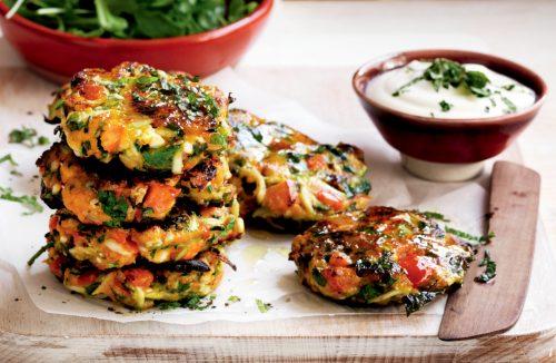 Roasted vegetable, feta and herb patties