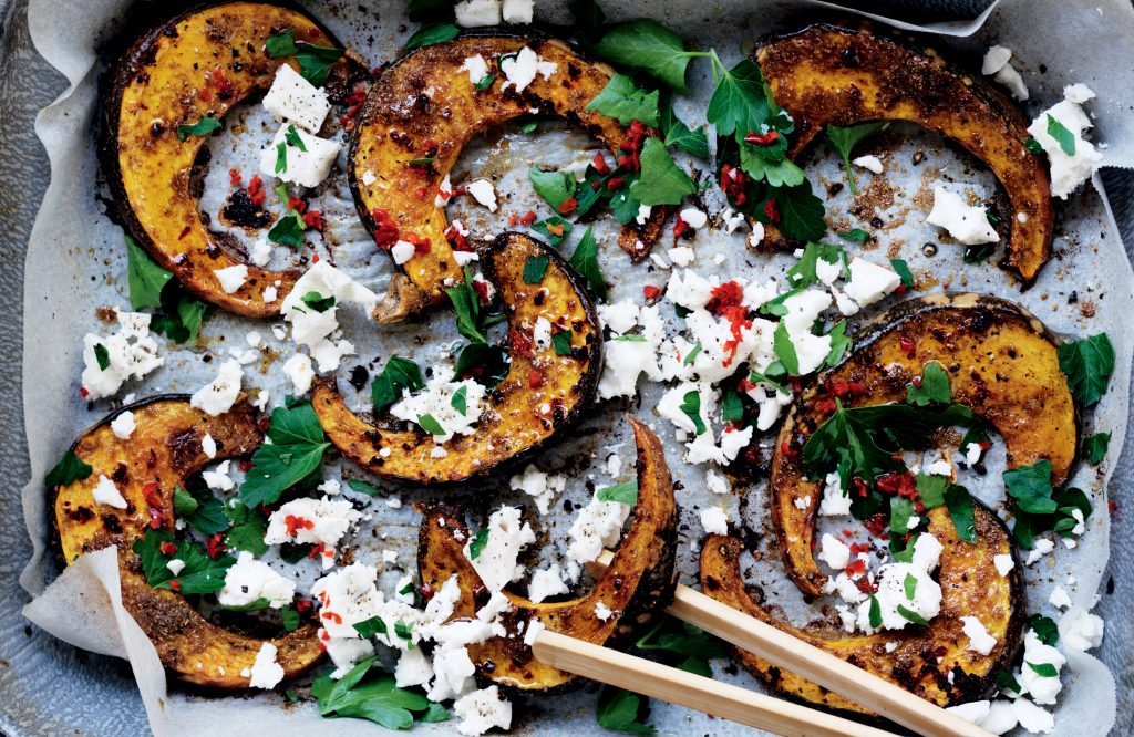Spice roasted pumpkin with chilli and feta