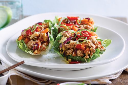 Spicy ginger pork with crispy lettuce cups