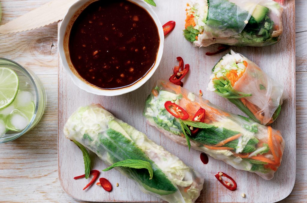 Turkey and vege rice paper rolls with peanut dipping sauce