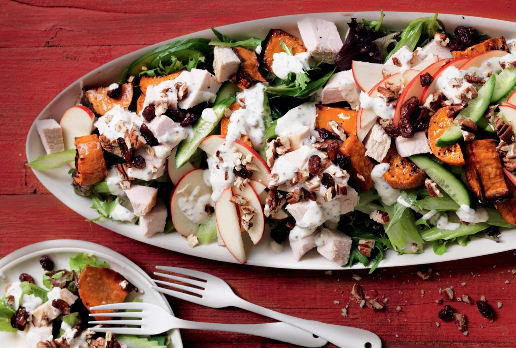 Turkey, kumara and pecan salad