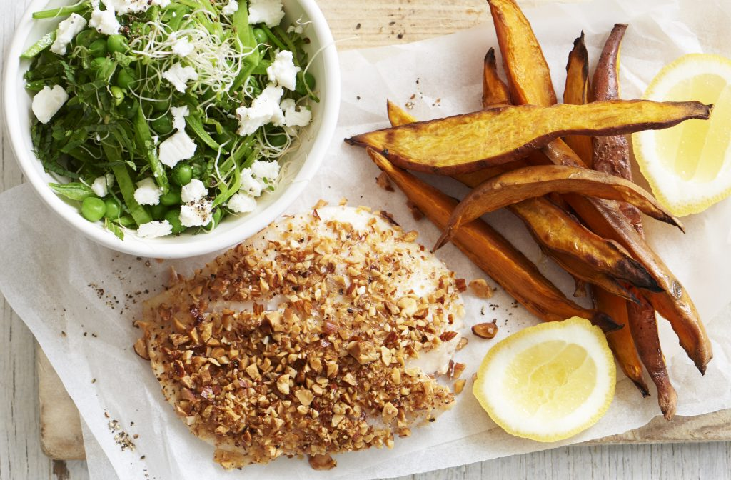 Baked almond-crusted fish and kumara chips