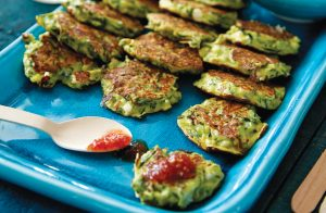 Courgette, feta and mint fritters with chilli jam