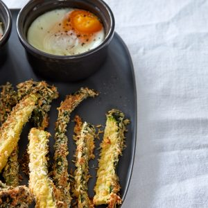 Crispy parmesan crumbed veges with eggy dip