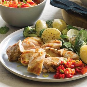 Grilled chicken with creamy potato salad and fresh apricot salsa