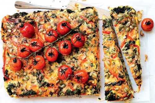 Kale, vege and pumpkin seed slice