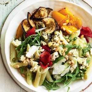 Pesto pasta salad with roasted veg and baked ricotta