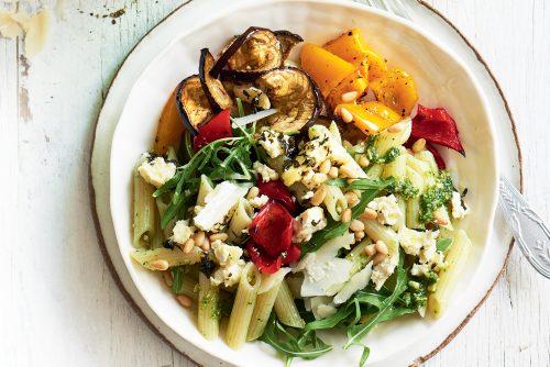 Pesto pasta salad with roasted veg and baked ricotta