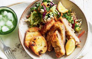 Pork schnitzel with fresh apple slaw