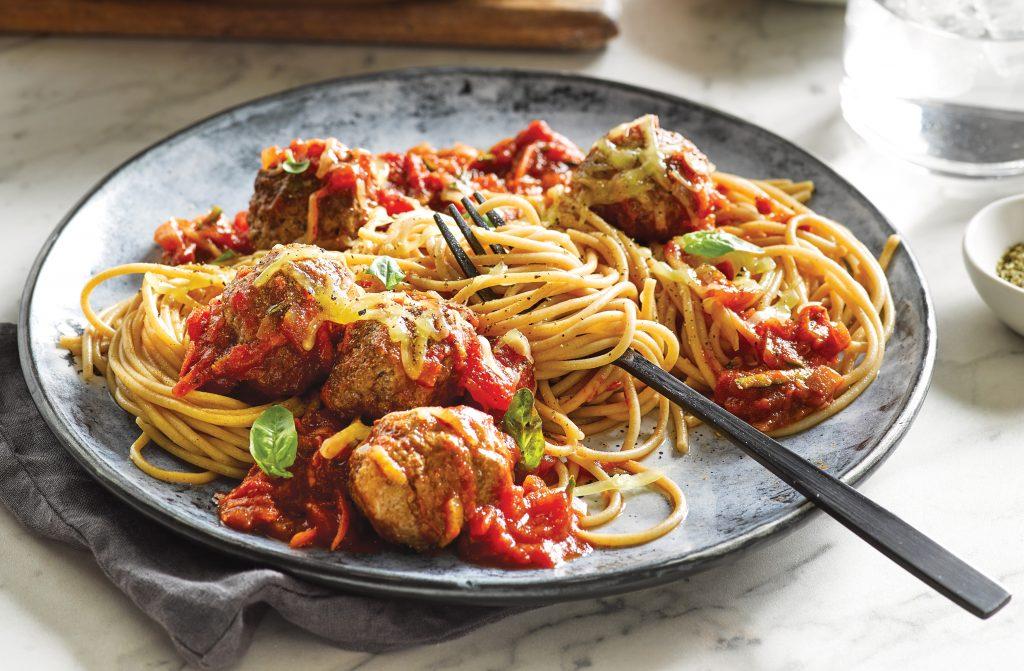 Spaghetti and meatballs in pomodoro sauce