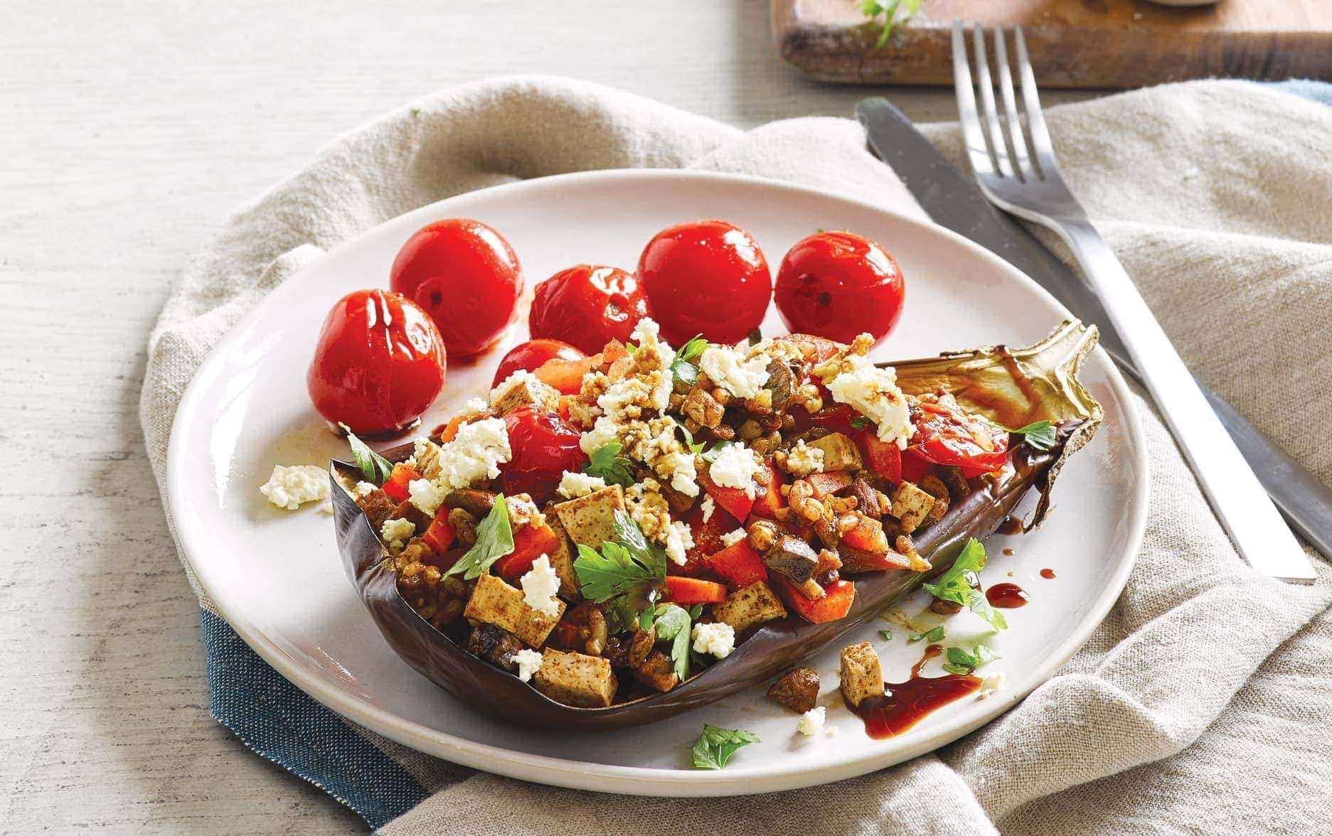 Stuffed eggplant with roasted tomatoes