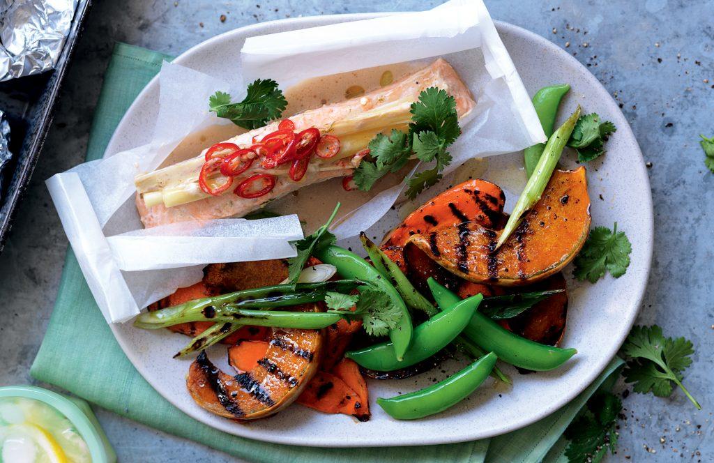 Coconut salmon parcels with pumpkin salad