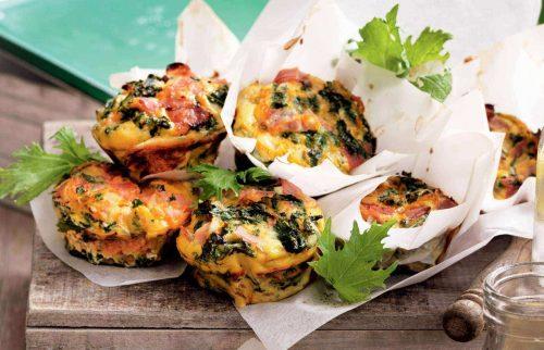 Kale, ham and ricotta mini frittatas