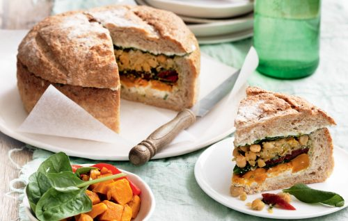 Pumpkin, herbed cream cheese and spinach cob loaf