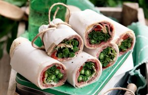 Roast beef, capsicum and green bean wraps