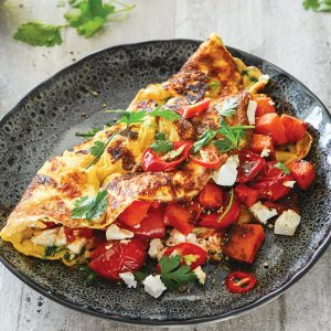 Roast vege and feta omelette