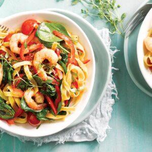 Smoky tomato and prawn tagliatelle