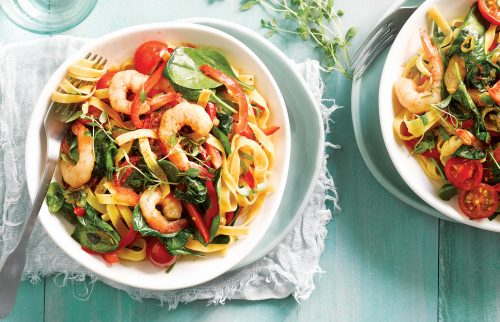 Smoky tomato and prawn tagliatelle